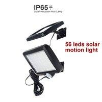 56 leds solar light split mounting pIR motion sensor led indoor outdoor lamp waterproof ip65 for street garden patio home camps