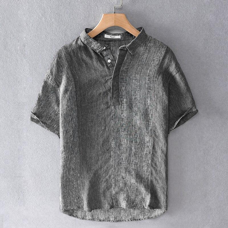 نمط جديد إيطاليا ماركة 100% قميص كتان الرجال الصيف قصيرة الأكمام الكتان قمصان للرجال عادية موضة قميص رجالي تنفس overhemd