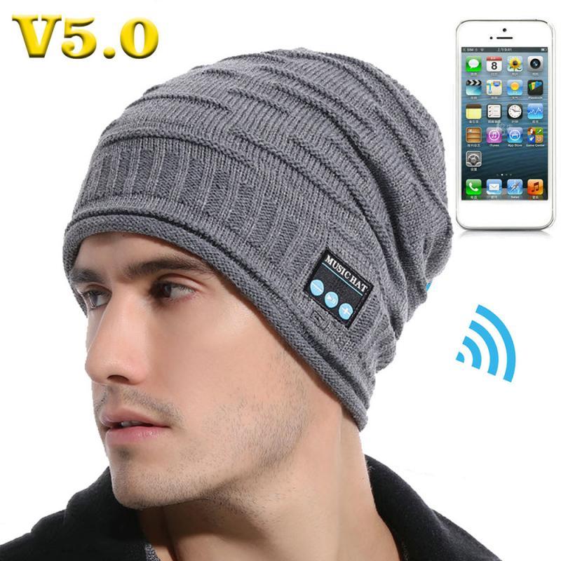 Invierno cálido Bluetooth 5,0 gorra inalámbrica auricular gorro para correr gorra deportiva con micrófono de altavoz de auriculares