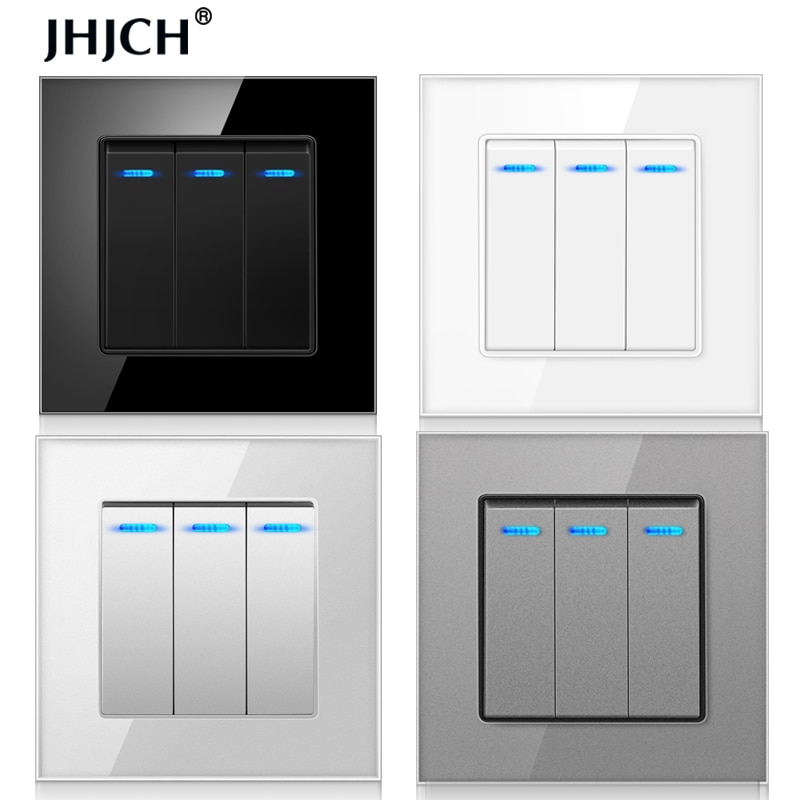 Jhjch-Panel de cristal templado de lujo, interruptor de luz de 3 entradas y 1 vía, interruptor de pared de encendido y apagado c