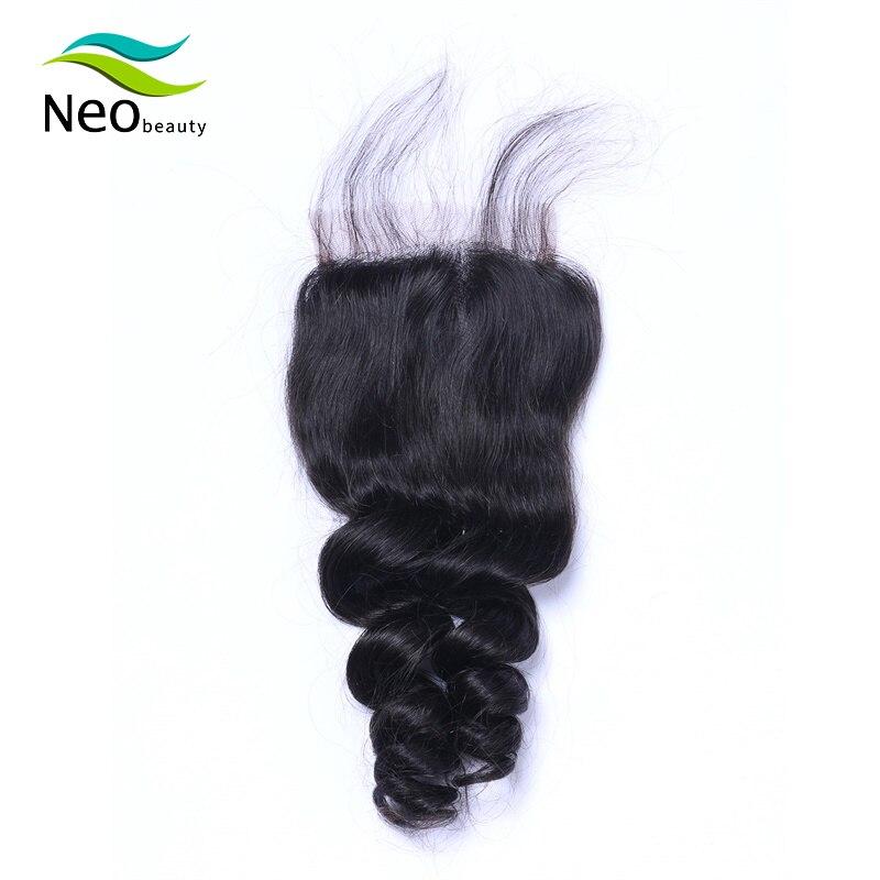 Loose גל סגירת 4x4 שיער טבעי גלי boby שיער ברזילאי רמי שוויצרי תחרה סגירת עם באיכות גבוהה