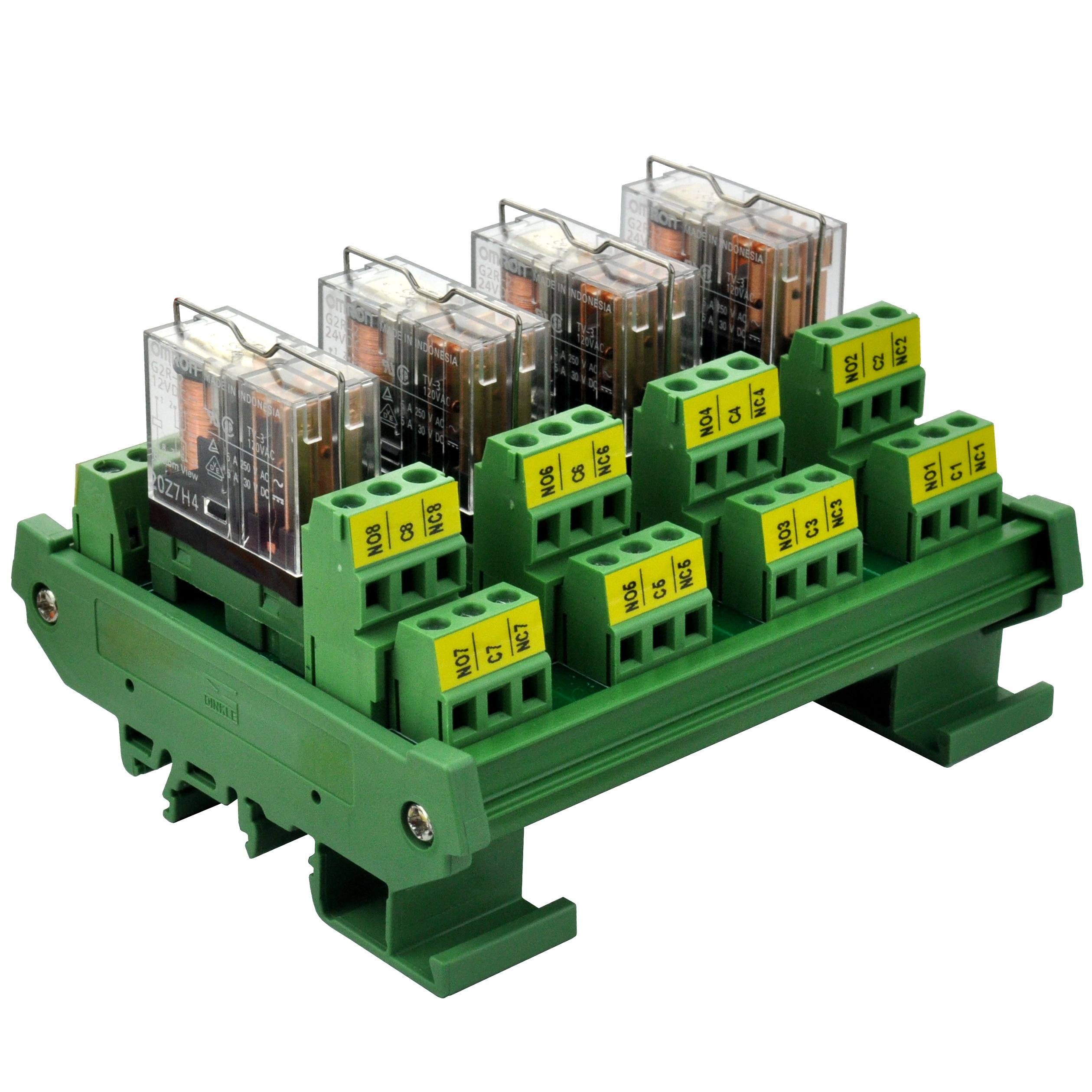 Electrónica-Salón DIN Rail montaje AC/DC 12V Control 4 DPDT 5Amp módulo de interfaz de relé de potencia enchufable ¡!