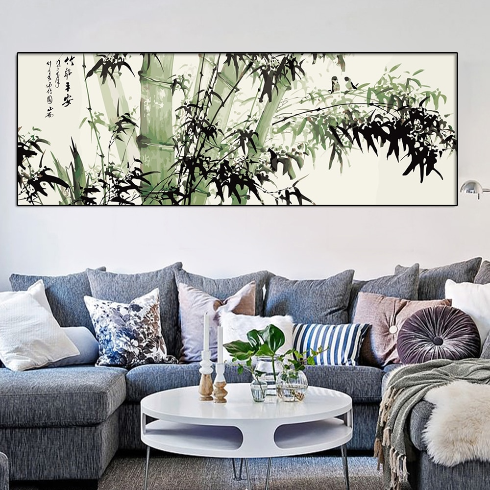 Cuadro de bambú DIY de 60x120cm de gatyztory, tamaño grande, arte abstracto moderno para pared, pintura de caligrafía para el hogar