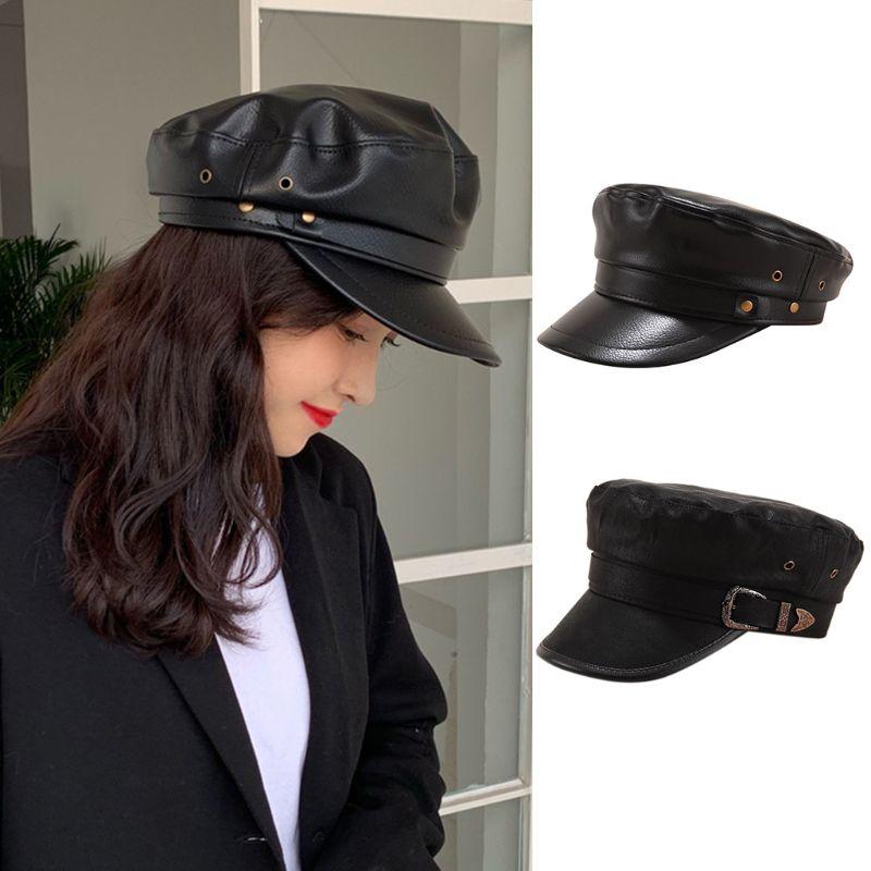 Mujeres Coreanas Vintage Faux cuero negro plana Marina Cap Newsboy pintor visera clásica militar sombrero con remache cinturón Decoración