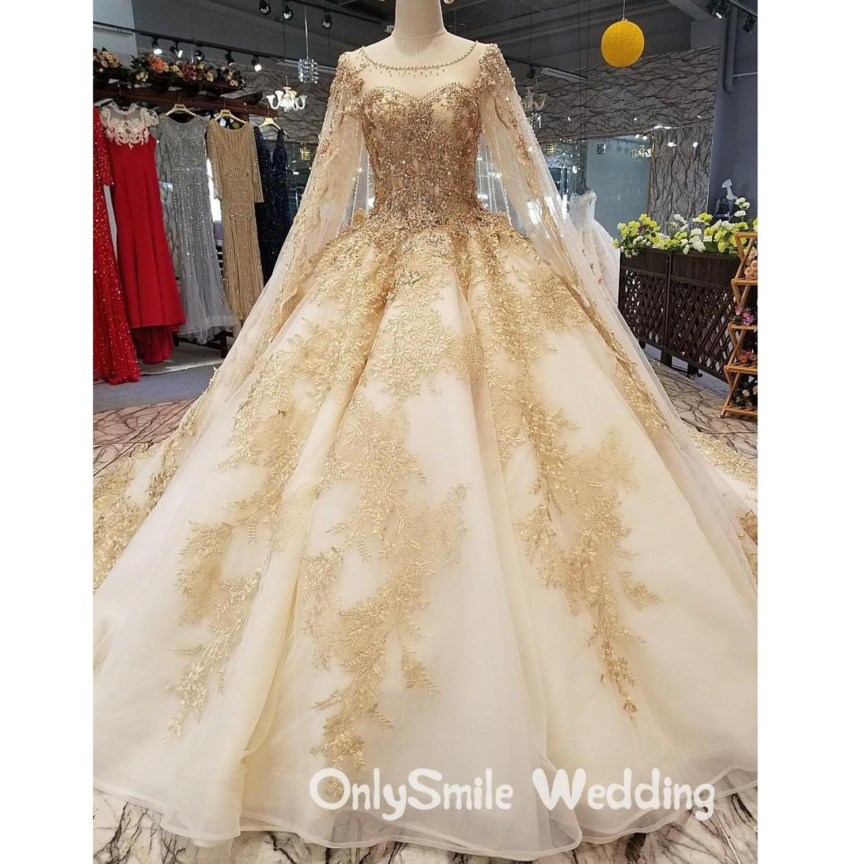 Vestido de novia dorado de lujo Vintage de gama alta de manga larga de encaje de lentejuelas vestido de novia Bling vestidos de novia La estrella de mar trouwjuck