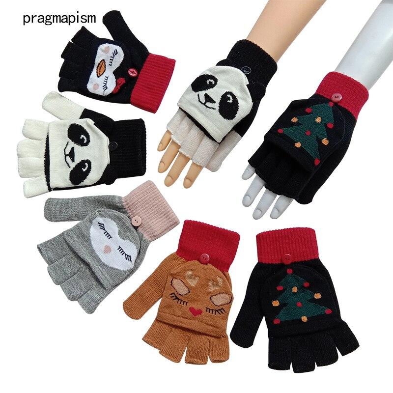 Woman Fingerless Gloves girl's fashion Winter Warm Exposed Finger Mittens Knitted Warm Flip Half Finger Gloves