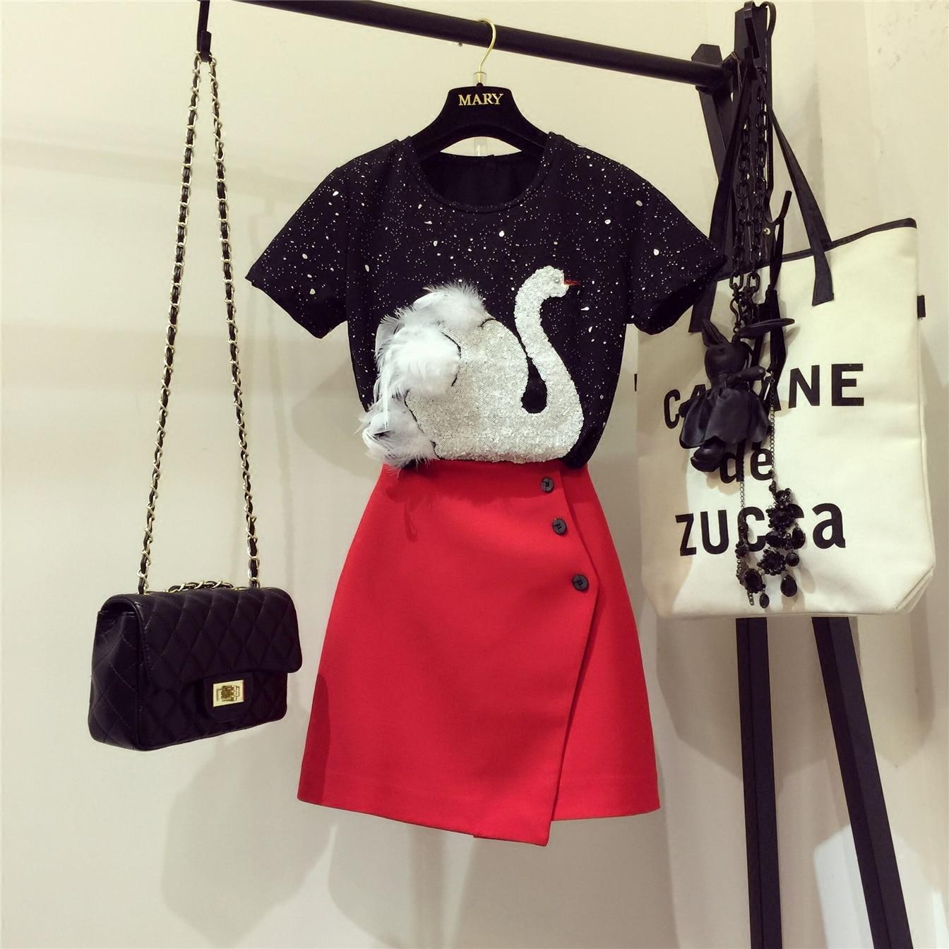 2020 novo verão conjuntos de duas peças femininas bordado lantejoulas cisne preto manga curta camisetas + vermelho a-line saia curta ternos