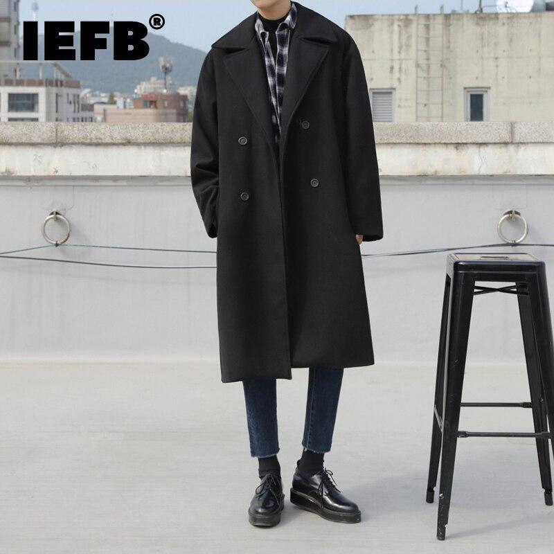 IEFB ملابس رجالية مزدوجة الصدر أسود سميكة الصوفية معطف طويل 2021 الخريف الشتاء الكورية الذكور منتصف طول التلبيب سترة 9Y3867