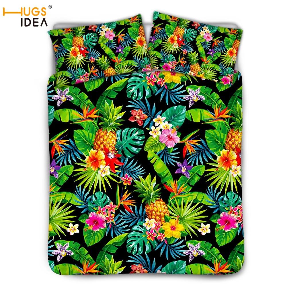 HUGSIDEA هاواي الاستوائية مصنع المطبوعة 3 قطعة الفراش مجموعة حاف غطاء السرير غطاء مجموعة المفارش المنسوجات المنزلية مجموعة 2 قطعة Polliwcase