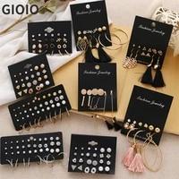 gioio womens earring set pearl womens earring set bohemian fashion jewelry geometric crystal heart earrings 2021