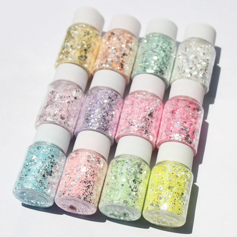 3D Mirror Silver Nail Art Mermaid Glitter Hexagon Paillette Sequins Flakes Sparkling Pigment Powder