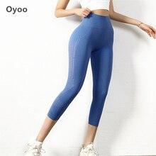 Oyoo 2020 taille haute Yoga pantalon bleu sans couture Leggings ventre contrôle Yoga Capris pour les femmes 3/4 longueur athlétique Fitness Leggings