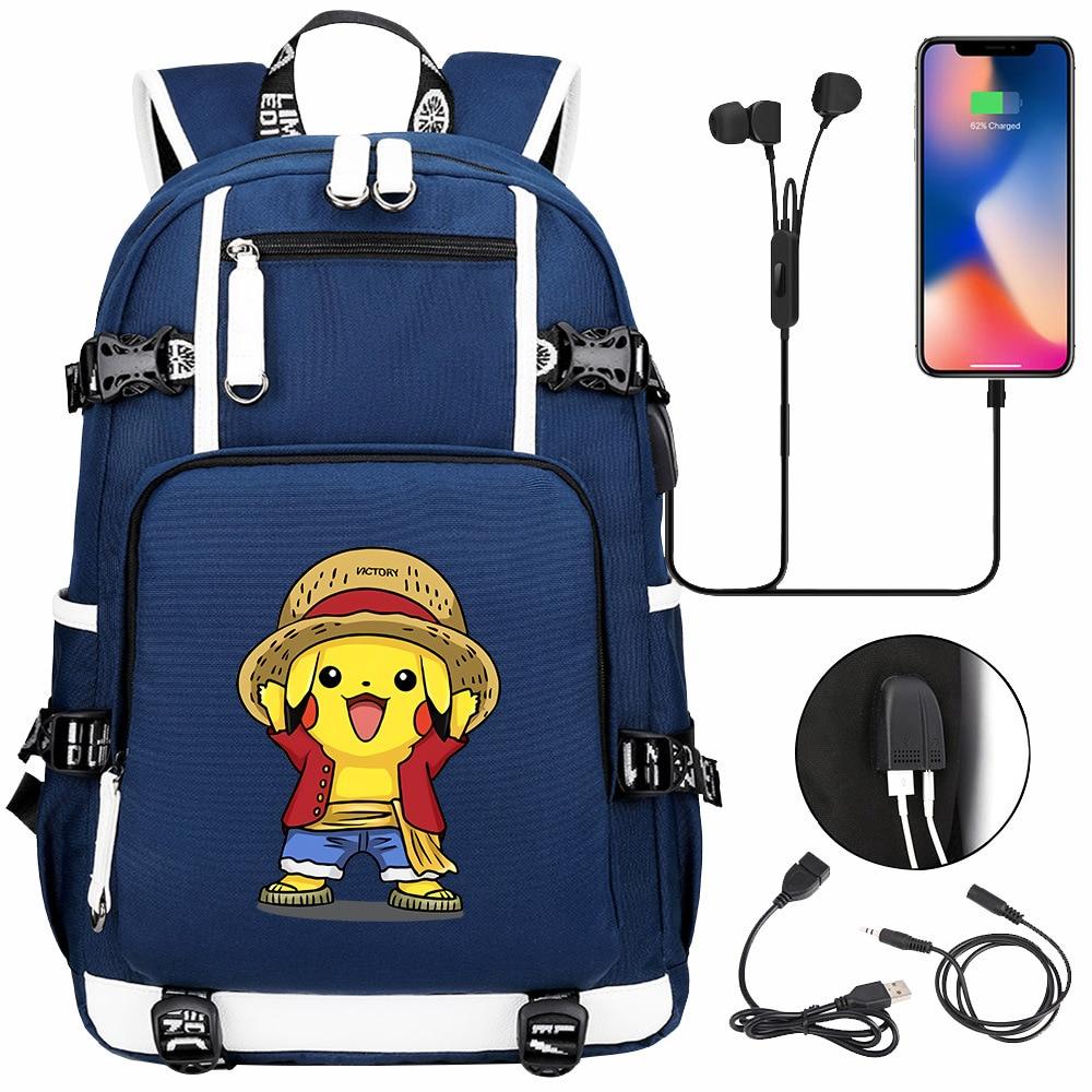 الكرتون قزم بيكاتشو USB شحن ظهره المدرسية جيوب وحوش دفتر ملاحظات للسفر حقيبة هدية للأطفال الطلاب
