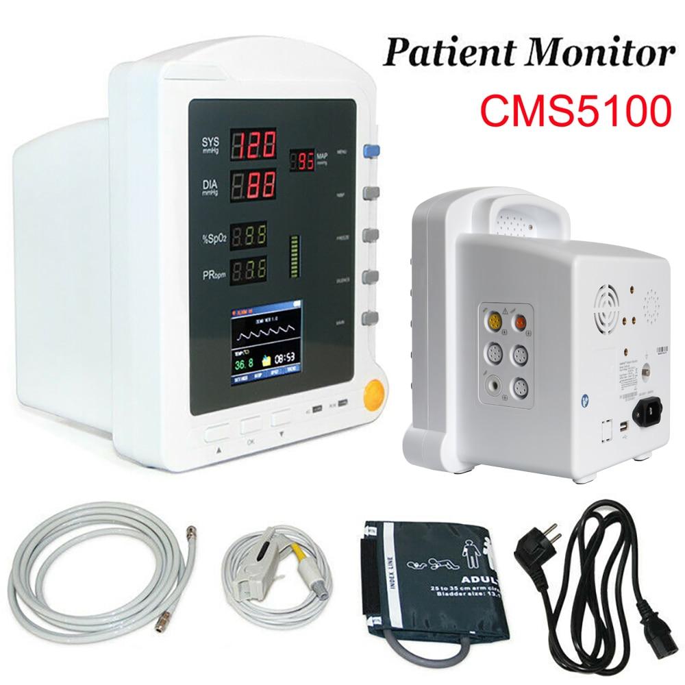 CMS5100 مراقبة المريض NIBP SPO2 درجة الحرارة PR 4 معلمة ضغط الدم مستشفى مراقبة المريض إشارات حيوية الجهاز الطبي