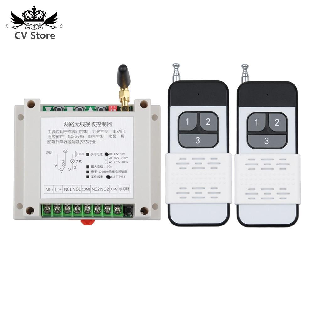 12V 24V 48V 30A 2CH sistema de interruptor de iluminación de Control remoto inalámbrico receptor transmisor LED Motor Waterpump Industrial