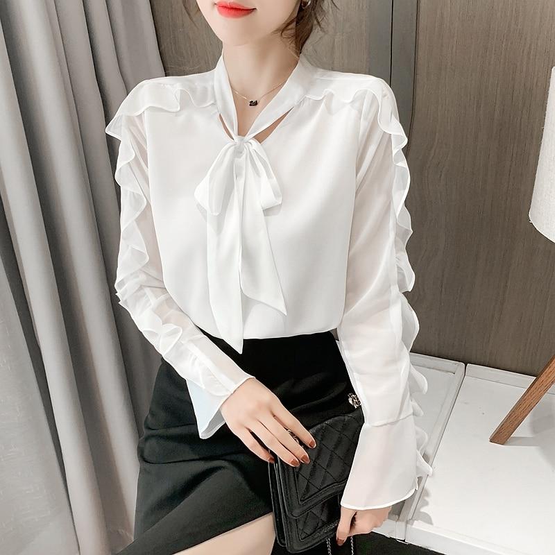 Spring Fashion Womens Chiffon Shirt Long Sleeve Top Ruffle Bow Blouse Top Blusas Plus Size Women Clothing plus allover bird print ruffle sleeve top
