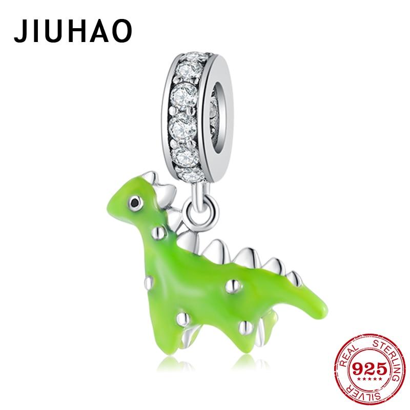 Горячая 925 пробы серебряные милые динозавры зеленые эмалированные амулеты для изготовления ювелирных изделий кулоны подходят оригинальный Шарм Пандора браслеты