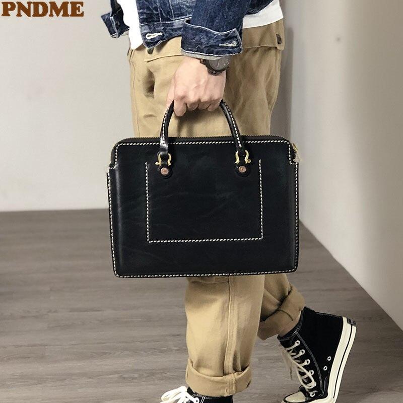 PNMDE fashion luxury natural genuine leather men women's small briefcase business work real cowhide black 12-inch laptop handbag
