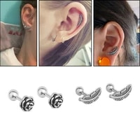 1pc stainless steel vintage rose flower and feather cz cartilage stud helix rook conch screw back earring piercing jewelry