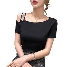 Gkfnmt coréen blanc évider demi manches T-Shirt femmes vêtements coton mode femme T-Shirt été hauts noir T-Shirt 2020