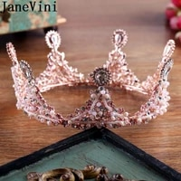 janevini luxury pink beaded tiaras and crowns for brides gold crystal round crown baroque bridal headpieces wedding hair jewelry