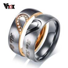 Vnox onun kral onun kraliçe çift düğün Band yüzük paslanmaz çelik CZ taş yıldönümü söz yüzüğü kadınlar erkekler için
