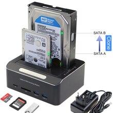 "2 Bay Hard Drive Docking Station USB 3.0 a SATA Per 2.5 ""/3.5"" HDD SSD Con 2x USB 3.0 Hub TF/lettore di Schede SD Offline Clone UASP"