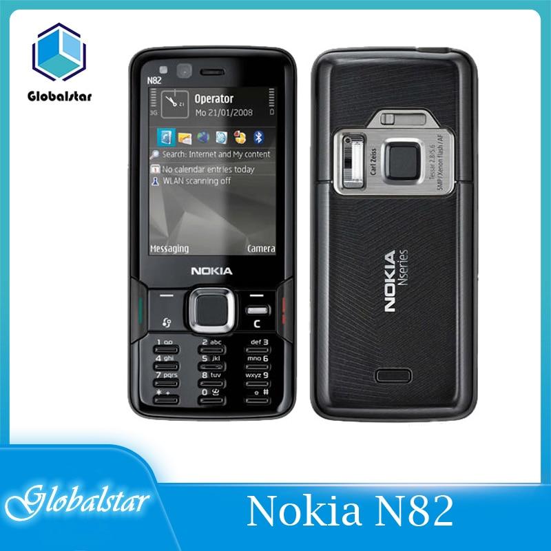 Перейти на Алиэкспресс и купить Восстановленный Оригинальный телефон Nokia N82 GSM 3G сеть WIFI 5MP камера FM 2,4 дюймов гарантия 1 год бесплатная доставка