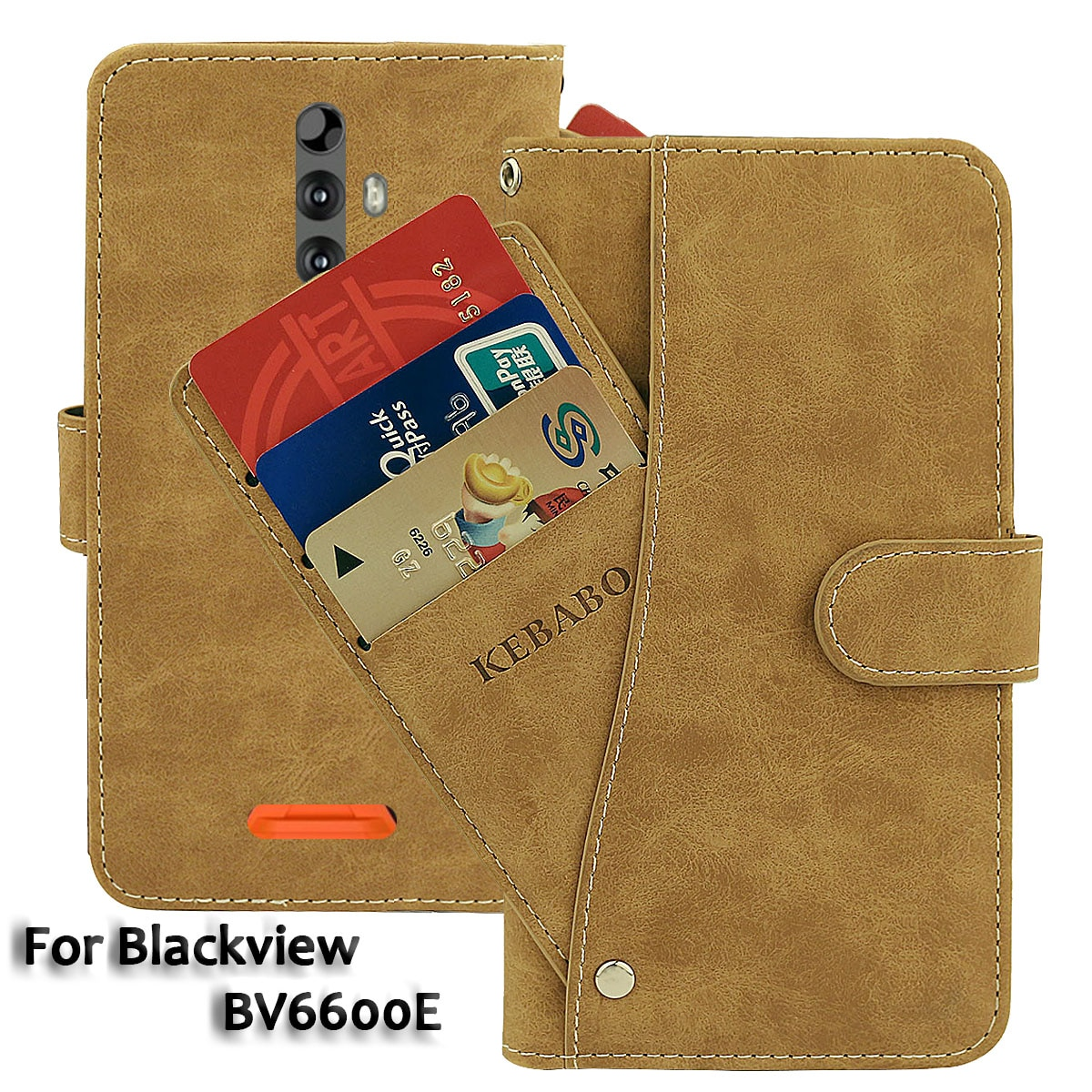Vintage Leather Wallet Blackview BV6600E Case 5.7