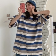 Women Shirt Products In Stock New Summer Preppy Style Printed Striped Half Sleeve Mid-Length Short-S