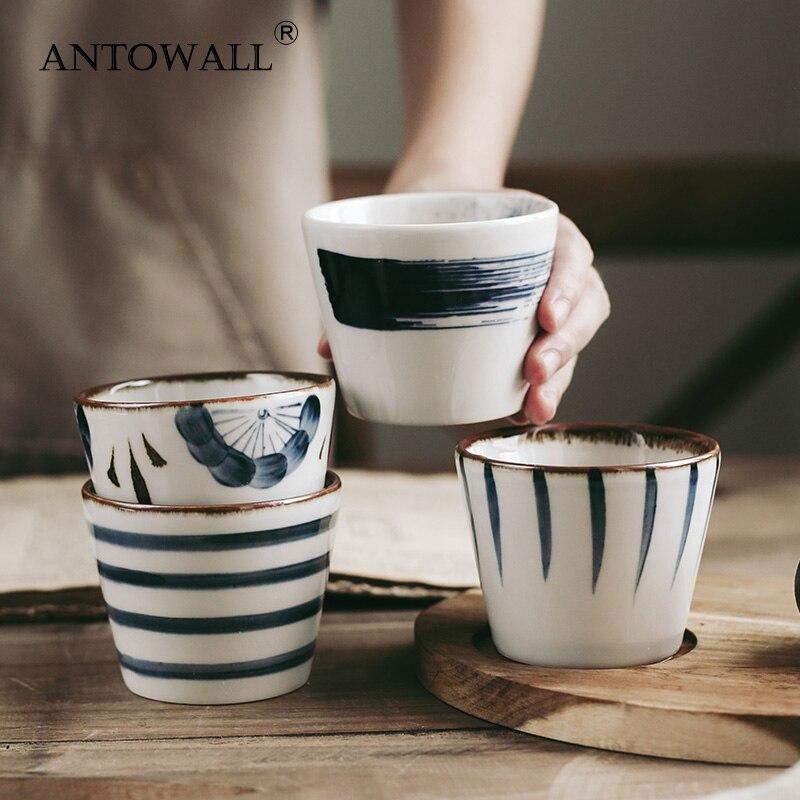 Tazas de té con vidriado japonés ANTOWALL, vasos de restaurante de cocina japonesa comercial, tazas frescas pintadas a mano de 200ml