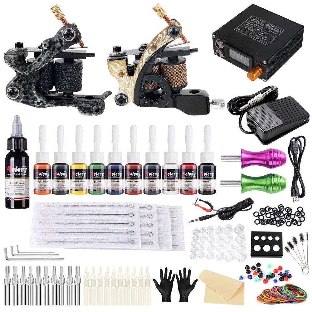 Kit completo de 2 bobinas profesionales Solong Tattoo Starter Set de 10 tintas suministro de energía puntas de agujas TK222