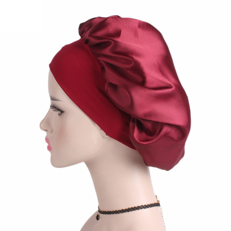 New Wide-brimmed Sleeping Caps Women Satin Bonnet Cap Night Sleep Hair Protect Shower Hat Wide Band Adjust Hat Bathroom Products