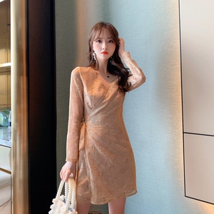 2021 Autumn New Style Ladies' Sexy V-neck Lace Mesh Gold Lace Small Dress