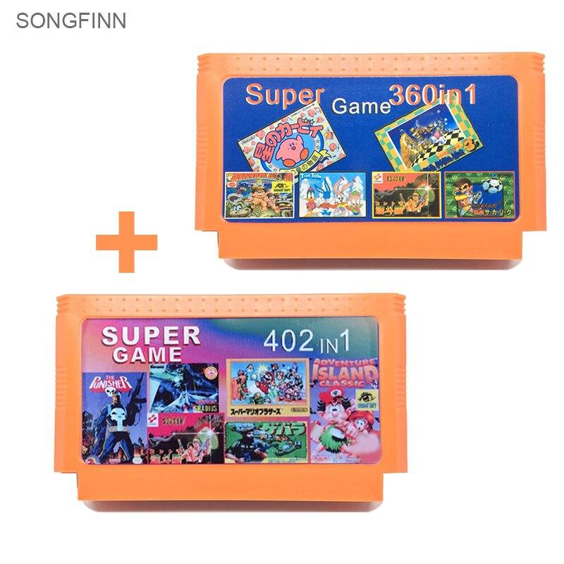 Gran oferta colección de juegos de 2 piezas (402 en 1 + 360 en 1) cartucho de juego de 60 pines para consola de juegos de 8 bits