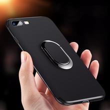 Luxe Siliconen Fall voor iPhone 8 7 6 6s Plus X Xs Max XR Abdeckung Erfüllt Magneet Metalen Ring houder Stehen Weiche TPU Fall voor iPhone