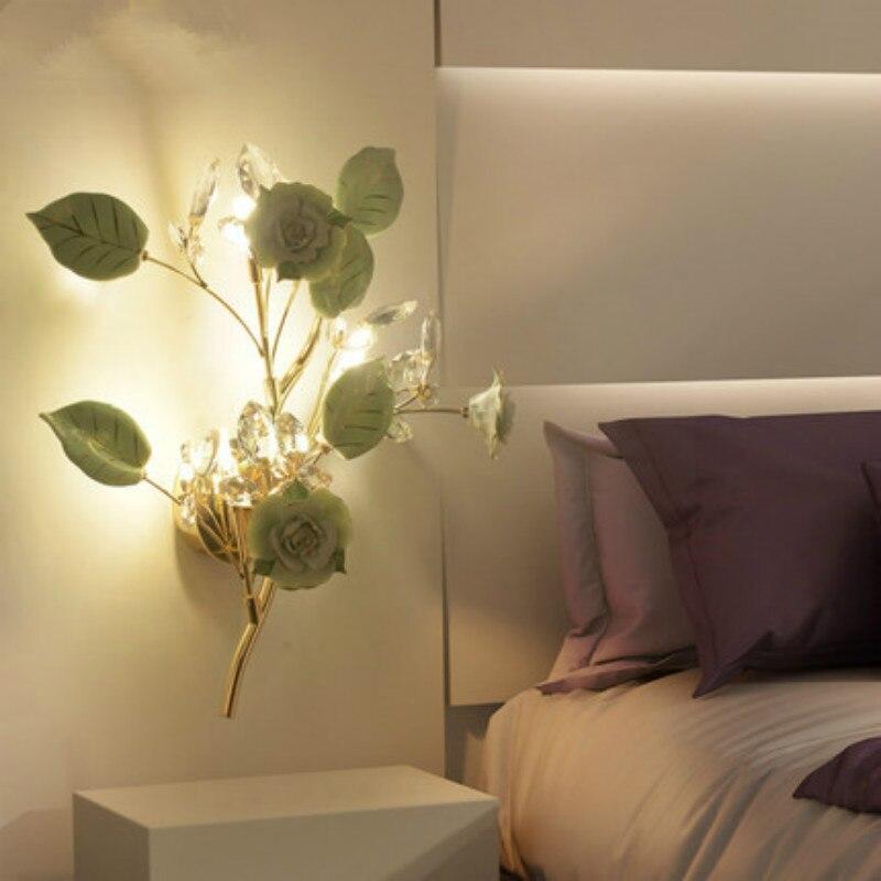 Art Deco Französisch stil LED Kristall wand lampen luxuriöse keramik blume hängen leuchte wohnzimmer schlafzimmer wand lampe nacht licht