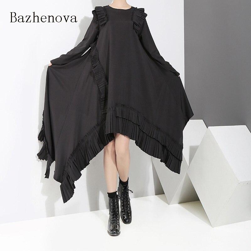 Bazhenova sonbahar kadın gevşek düzensiz elbise kız güz kişilik Streetwear elbise kadın uzun kollu elbise bayan elbisesi R622