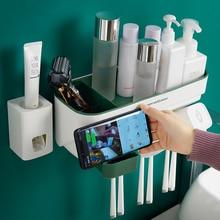 Zahnpasta Zahnbürste Halter Bad Zubehör Schlag kostenloser Automatische Zahnpasta Spender Halter Bad Lagerung