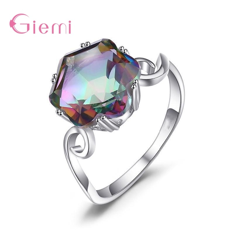 Elegant 925 Sterling Silver Wedding Ring Clear AAA Cubic Zirconia Engagement Rings for Women Promise Statement Jewelry