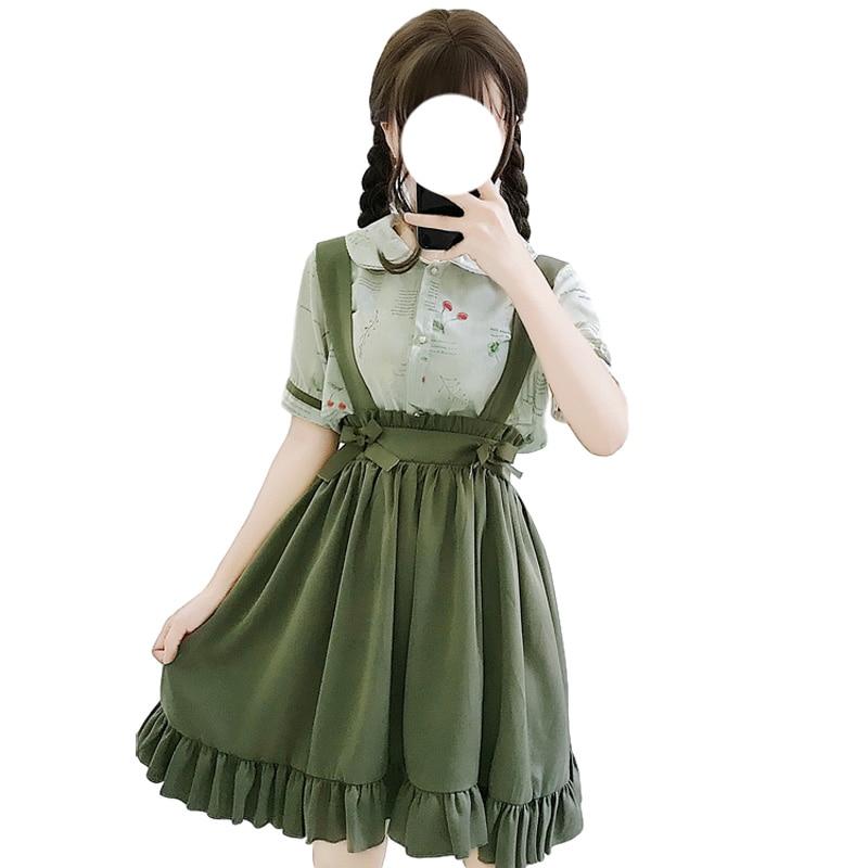مدرسة بنات لطيف الحمالة تنورة اليابانية لوليتا تأثيري Kawaii ألف خط مطوي تنورة الكورية نمط خمر الكشكشة التنانير الخضراء