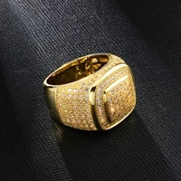 hip hop iced out bling full cz charm tready square copper zircon ring for men women jewelry gold size 8 11
