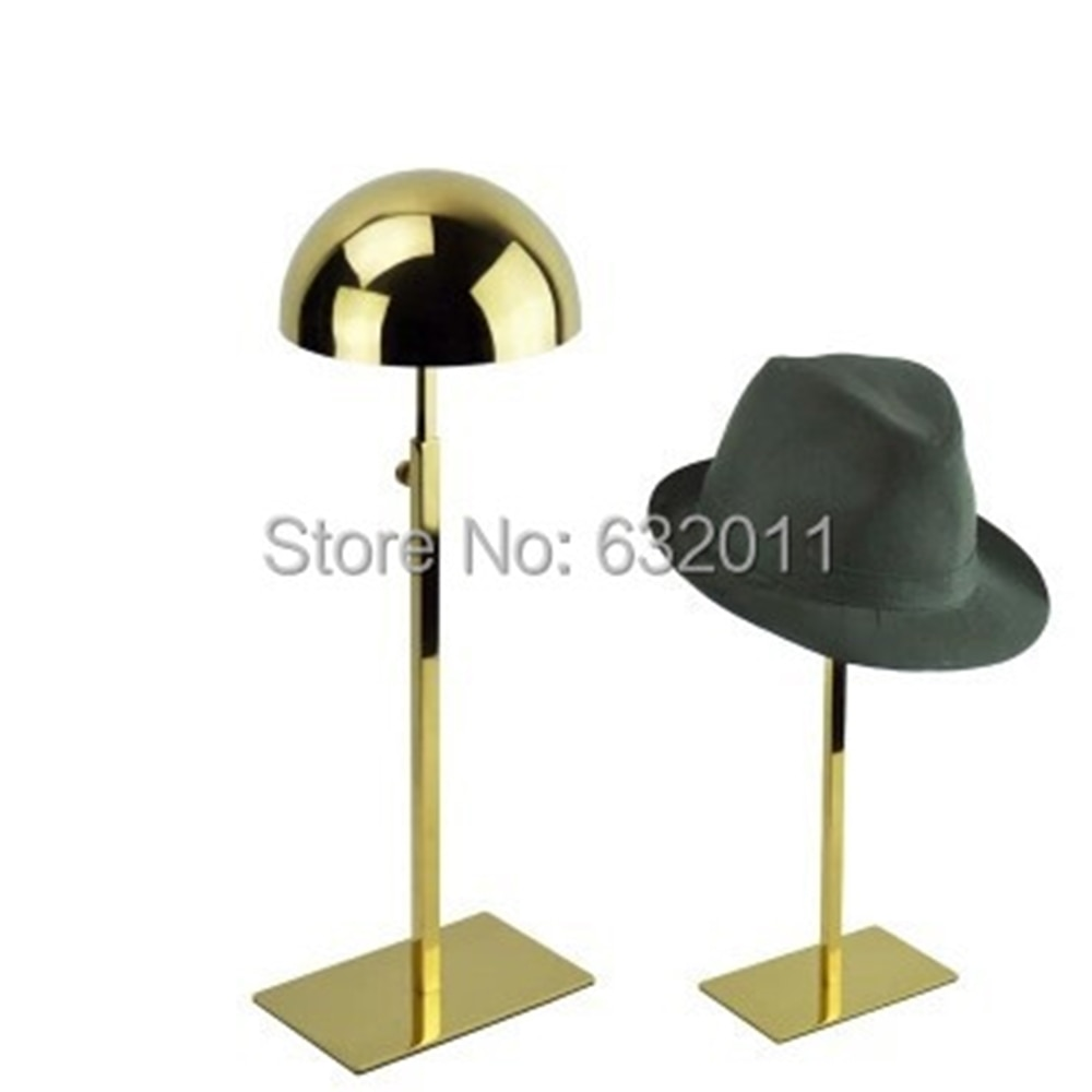 Подставка для витрины шляп из титана и золота, держатель для париков, стеллаж для витрин магазина, реквизит для витрины на столе органайзер ...