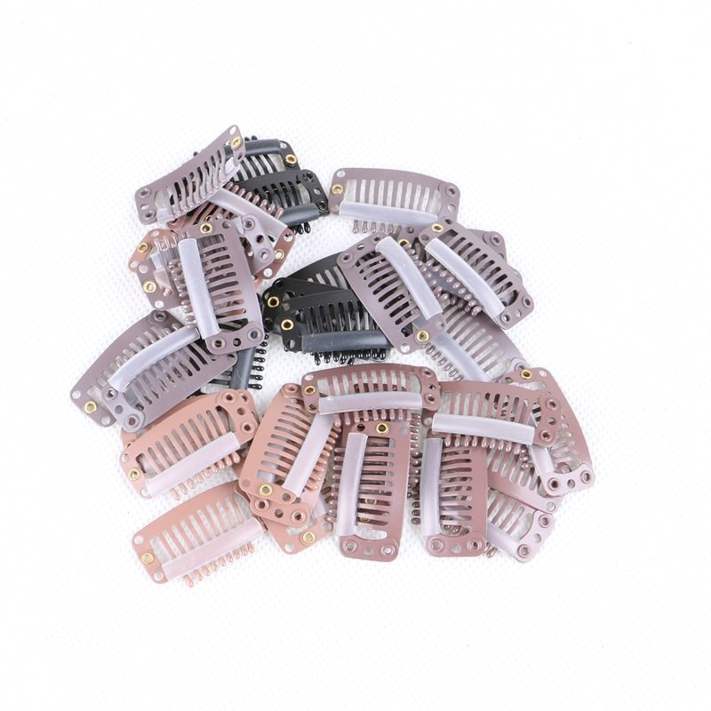 1000pcs 3.2cm 9 teeth I Shape Snap Clips For Hair Extensions Tool With Silicone Back Wig Clips In