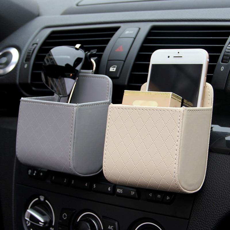 Car Storage Bag Air Vent Dashboard Tidy Hanging Leather Organizer Box