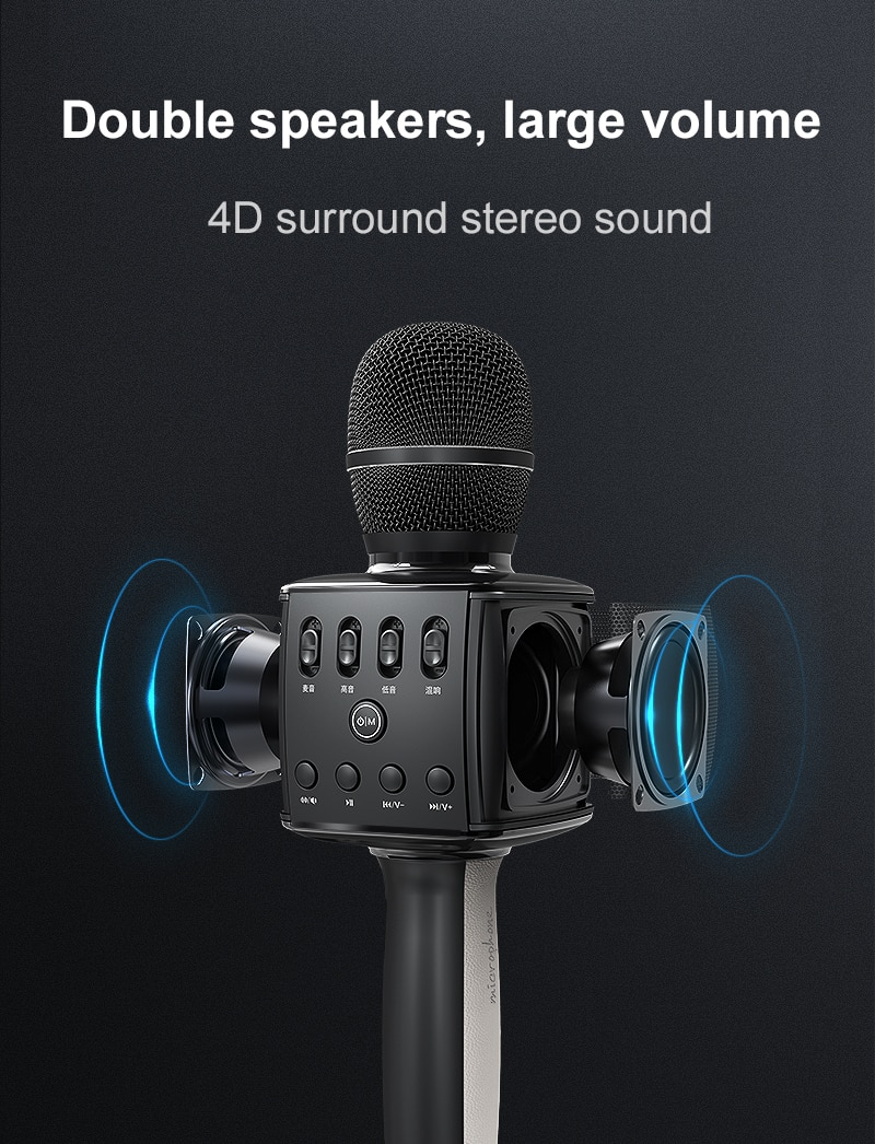 Wireless Microphone Bluetooth 5.0 Karaoke Rechargeable Dynamic Mic System Set with Dual Powerful Speakers Charging Base enlarge