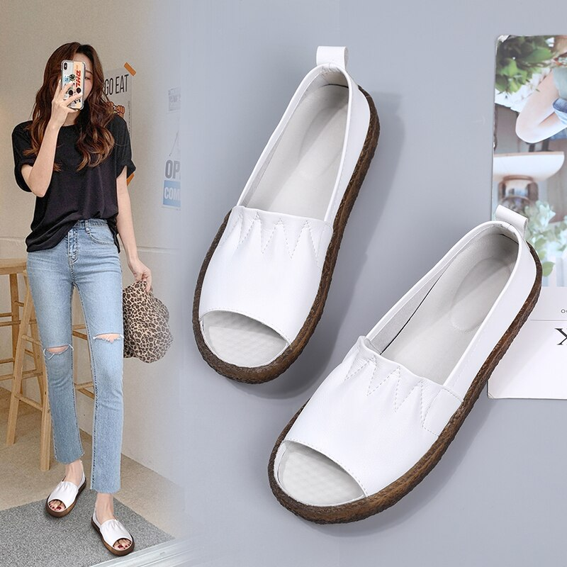AliExpress - Fashion Women's Sandals 2021 Comfortable Open Toe Beach Flat Shoes No Heel Female Summer Slippers Leather Set Foot Not-tie