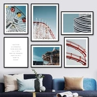 ferris wheel carrousel amusement park sky wall art canvas painting nordic posters and prints wall pictures for living room decor