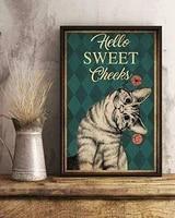 Affiche de decoration murale en metal  Hello Sweet waffle Love Cat  meilleur cadeau pour la maison