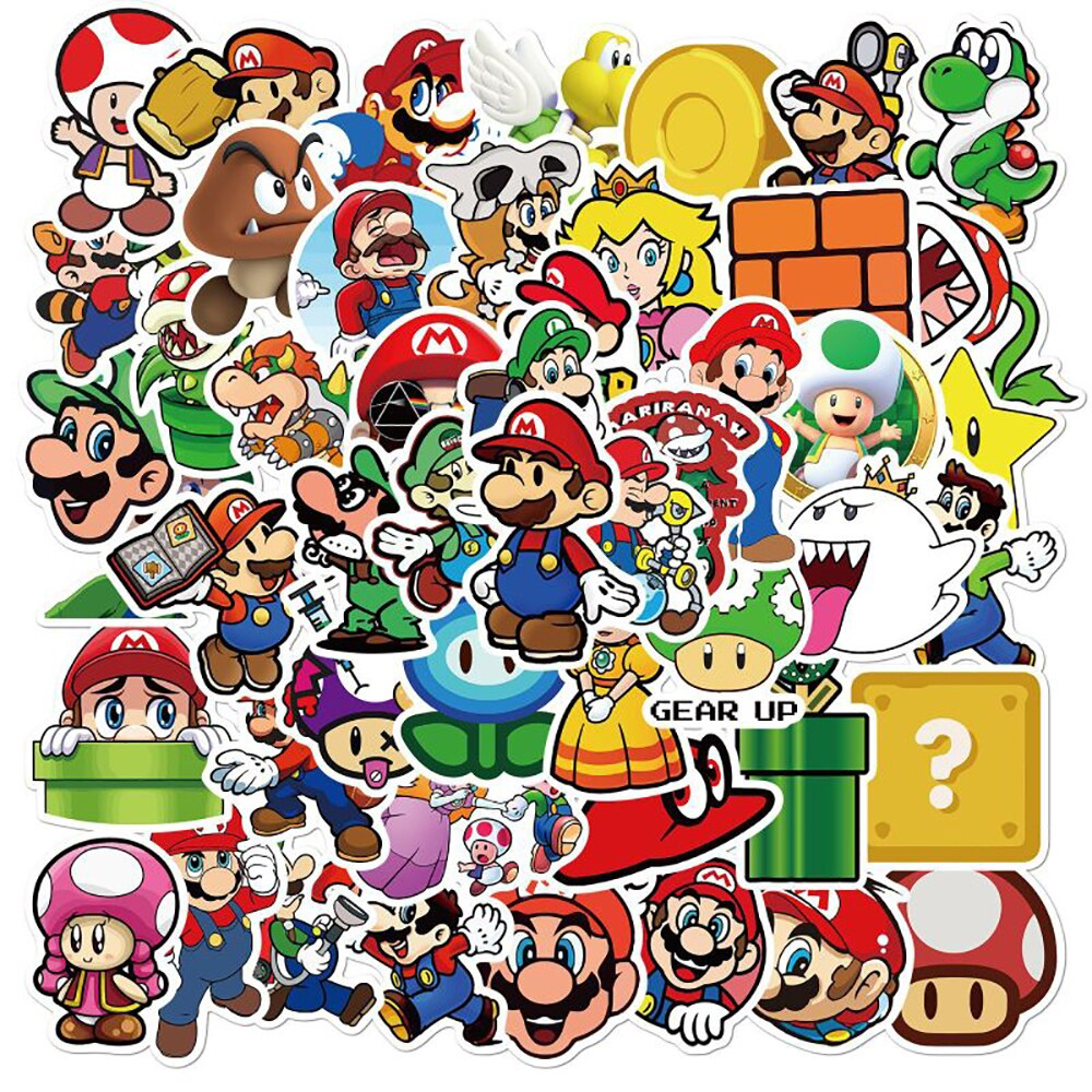 50PCS Super Mario Game Stickers IY Bike Travel Luggage Phone Guitar Laptop Classic Cartoon Sticker Decals Fun for Kid Toys Gift